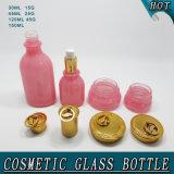Bottiglia della lozione della bottiglia di vetro di colore rosa cosmetico dei fornitori e vaso ellittici della crema