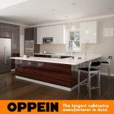 Do folheado de madeira elevado do lustro de Oppein gabinete de cozinha em forma de u (OP16-LOT42)