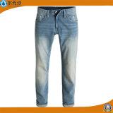 Da forma magro das calças de brim do ajuste dos homens do OEM calças de brim básicas da sarja de Nimes do estiramento