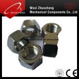 Noix M6-30 noire galvanisée normale d'acier du carbone d'hexagone