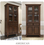Высеканная Antique конструкция книжных полок Bookcase для дома (GSP18-001)