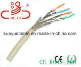 Оплетка и фольга кабеля LAN Cat7 Sf/FTP над защищаемым разъемом кабеля пары/связи