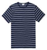 人の白黒しまのある綿のTシャツ