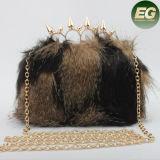 Exótico embrague de la caja Bolsa Piel real del bolso de embrague invierno de la piel de la tarde Bagbrand bolsa con asa de metal Eb845