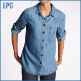 Обыкновенной толком тонкий проверенная пригонкой рубашка джинсовой ткани