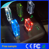 Atacado Free Company Logo LED Light Crystal USB Flash Drive