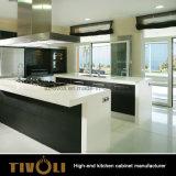 Kleiner Wohnungs-Küche-Entwurfs-preiswerte graue Melamin-Küche-Möbel (AP019)