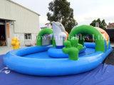 Piscina inflable de la venta caliente para el uso o el alquiler personal, piscina inflable de Dophin para los cabritos o adultos