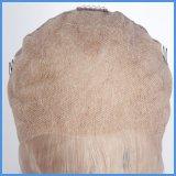 Белокурый полный парик шнурка/парик шнурка с челками