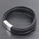 Edelstahl-Armband-reines ledernes Schmucksache-Mannesarmband