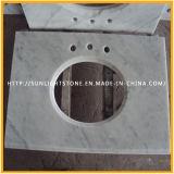 Partie supérieure du comptoir de marbre en pierre blanches faites sur commande de cuisine de Carrare pour résidentiel, hôtel