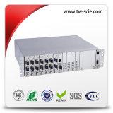 8X SFP 슬롯 + 다른 1000m SFP 모듈을%s 1개 x 10/100/1000의 섬유 매체 변환기
