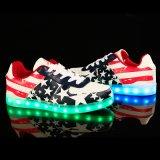 Американский флаг освещает вверх людей ботинок тапки СИД освещения USB перезаряжаемые