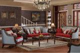 Cadeira de assento clássico do sofá da tela Set antigo amor do sofá clássico com moldura de madeira para a Sala de Estar