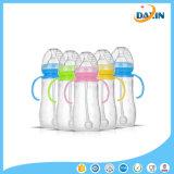 Duradera botella de bebida de botella de Sippy bebé niños de silicona de paja con asas Diseño lindo de la botella de alimentación