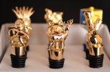 Tappo su ordinazione della bottiglia di vino dell'oro dell'oggetto d'antiquariato del metallo (GZHY-BS-008)