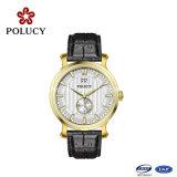 Relógio 2016 feito sob encomenda elegante da moda do relógio de ouro de Rosa do tipo do couro genuíno