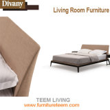 Кровать ткани комфорта конструкции твердой древесины изогнутая