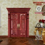 Portes extérieures en partie double découpées d'appartement en bois solide (GSP1-003)