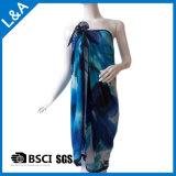 青い女性のためのポリエステルシフォンによって印刷されるスカーフ