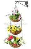 El más barato cesta Europea colgante montado en la pared del estilo del metal de alambre flores al aire libre