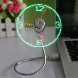 Вентилятор часов времени СИД USB миниый гибкий с светом СИД