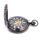 Negro para hombre mecánico de la mano del viento reloj de bolsillo del tamaño grande