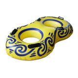 Tubo de PVC de color amarillo inflable doble del esquí de agua para el parque acuático
