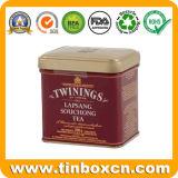 Contenitore rettangolare dello stagno del tè del metallo con il commestibile