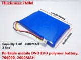 Drei Zeilen mit Stecker das SAST-bewegliche Mobile DVD Evd der Batterie-7.4 V 706090 2600 Milliamperestunde