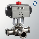 Valvola a sfera a tre vie igienica elettrica pneumatica del T di Ss304 Ss316L