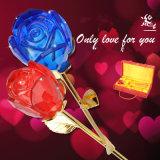 Regalo de la boda de la flor cristalina de Rose del favor de la tarjeta del día de San Valentín romántica azul roja del cumpleaños