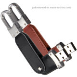 Movimentações de couro do USB dos presentes 4gig da tecnologia com fechamento chave