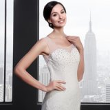 O-Neck Backless Sleeveless Mermaid Wedding Dress (Q012)