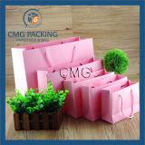 Sacos luxuosos cor-de-rosa do presente de Laminationed, sacos de papel de compra (DM-GPBB-045)