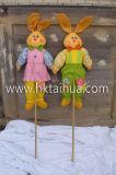 イースター装飾、木製クラブとのウサギの形