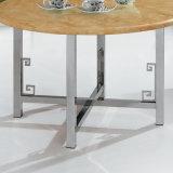 Het Been van het roestvrij staal met Ronde Marmeren Hoogste Koffietafel (CT015)
