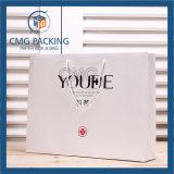 Bolso blanco superficial del embalaje del regalo de Matt de la impresión negra (CMG-MAY-037)