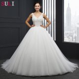 V-Neck Backless Beading Wedding Dress (SL-042)