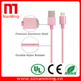 Cabo de dados trançado de nylon do USB da liga de alumínio para o cabo cobrando de Smartphone