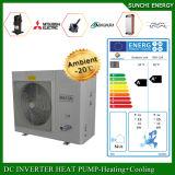 Ar do quarto 12kw/19kw/35kw Evi do medidor do calor 100~350sq do inverno de Europa Cold-25c ao sistema de bomba do calor da água para o aquecimento que refrigera a água quente