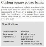 Banques carrées de puissance imprimées par coutume mobile portative