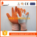 13 gants fonctionnants Dnl212 de sûreté de doublure de mesure de latex d'enduit de fini orange en nylon blanc de mousse