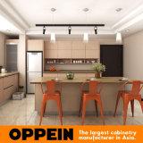 Oppein modernes Brown Melamin-hölzerne Küche-Möbel mit Insel (OP15-M10)