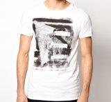 T-shirt en gros fait sur commande d'hommes de coton d'été rond blanc de collet d'impression de Waterbase