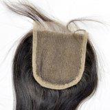 """"""" fermeture librement séparée de lacet attachée par main brésilienne de cheveu de la Vierge 22"""