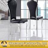 Cadeira de jantar luxuosa de couro preta clássica do metal