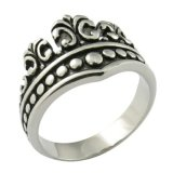 Joyerías de acero quirúrgicas de piedra de rey Crown Ring CZ Gleu