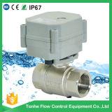 Robinet à tournant sphérique en laiton nickelé motorisé électrique de voie de la vente directe 2 d'usine pour les eaux d'égout de petite taille (T25-N2-A)