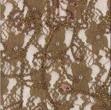 Tela de nylon del cordón del algodón para las alineadas de boda
